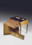 Games table with 19th century sabots (ormolu mounted tulipwood, amaranth, sycamore & cube parquetry) (see also 451440, 463051 and 463052)