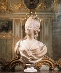 Queen Marie Antoinette's bust on fireplace in queen's chamber, Palace of Versailles (UNESCO World Heritage List, 1979), France, 18th century