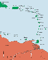 Map of the Lesser Antilles.