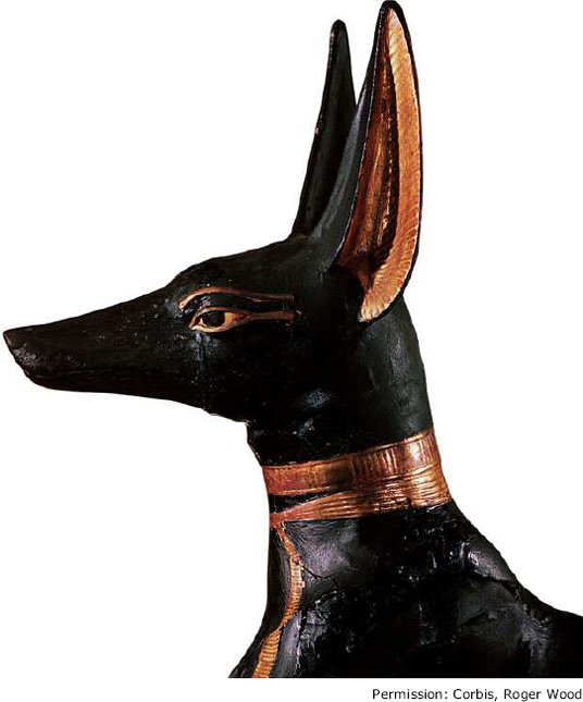 A statue of Anubis