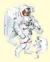 Astronauts on NASA's shuttle use spacesuits (1)...