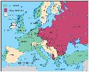 The map shows the division of Europe in 1955,...
