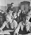 A sixth-grade schoolroom in Latvia, when it was a...