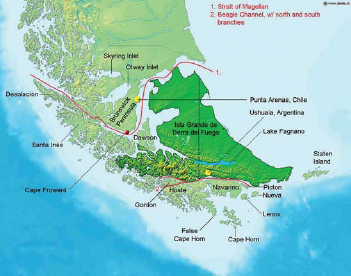 Tierra Del Fuego Argentina And Chile Credo Reference - Argentina landforms map