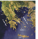 Map of the Greek area with the Aegean and Ionian...