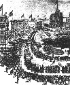 A depiction of the first Labor Day parade in New...