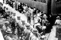 Japanese Americans arrive at the Santa Anita...