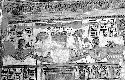 Wall relief showing royal barge at the temple of...