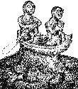 Human figures from a burial jar found in...