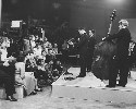 Lonnie Donegan and his skiffle band recording a...