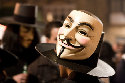 The Guy Fawkes mask represents the man implicated...