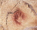 Prehistoric image of a human hand, stenciled on...