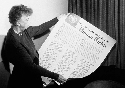 Eleanor Roosevelt holding a copy of the Universal...