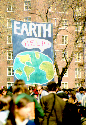 People gather for the first Earth Day celebration...