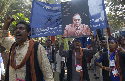 Dalits marching in Bombay (Mumbai) carry a poster...
