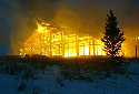 Fire set by arsonists engulfs the Two Elk Lodge...