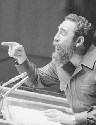 Cuban Premier Fidel Castro gestures with his...