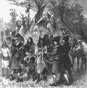 Fur traders socializing with Indians in a...