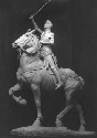Equestrian statue of Joan of Arc in armor, ca....