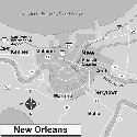 Map of New Orleans, Louisiana. Founded in 1718 as...