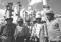 Petroleum workers at the PEMEX oil refinery....