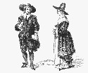 Circa 1630, woodcut of a Puritan couple in daily...