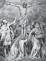 Engraving depicting the crucifixion of Jesus of...