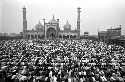 Thousands of devout Muslims congregate at the...