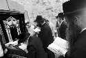 Ultra-Orthodox Jews pray at the Western Wall in...