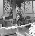 Astronomer Professor Bernard Lovell at work at...