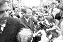 Senator Robert F. Kennedy campaigns for the...