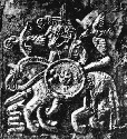 Helmet plate from Vendel, showing what might be...