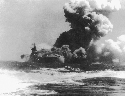 The U.S. Navy aircraft carrier Wasp (CV-7) afire...