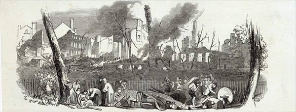 The Bowling-green and Marketfield-street, New York, from The Illustrated London News, 23rd August 1845 (engraving)