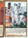 Martyrdom of Jean de Brebeuf and Gabriel Lalemant by Iroquois, in Nouvelle-France 1649, from 'Jesuits Martyrology', 1688 (coloured engraving)