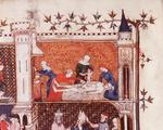 Birth of Julius Caesar, earliest known representation of a caesarian operation (vellum)