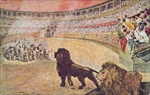 Postcard depicting christian martyrs in the arena in Rome, c.1910 (colour litho)