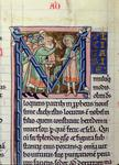 Ms 10 fol 291v Historiated initial 'M' depicting Saint Paul disputing with the Jews, from the Manerius Bible c.1185 (vellum)