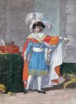 One of the Five Members of the Executive Directory of the Directoire period (1795-99) in formal costume (coloured engraving)