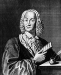 Portrait of Vivaldi holding a sheet of music, 1725 (engraving)