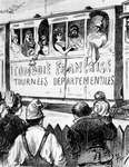 The cast of the Comédie Française on tour in France in a special train, makes a halt to give countryfolk a glimpse of the theatre, 2nd half 19th century (litho)