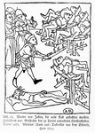 "Martyrdom of Jews on the wheel, from the ""History of the Christian child murdered at Trent"", published in Trent by Albertus Kune, 1475 (woodcut)"