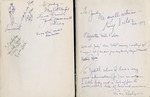 Front free endpapers of 'The Wizard of Oz' by Frank L. Baum, inscribed to Judy Garland by cast and crew members of the film, 1939 (photo)