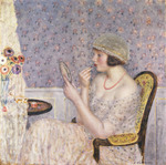 Woman at a Dressing Table, (oil on canvas)