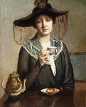 A Cup of Tea, (oil on canvas)