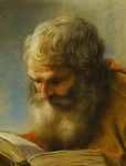 A Bearded Apostle Reading, 1712 (pastel)