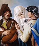A Gentleman in a Phrygian Bonnet being addressed by a Gentleman in a yellow coat and black tricorn Hat with a Lady in a blue brocade Dress and white Mantilla, (pastel on paper laid on canvas)
