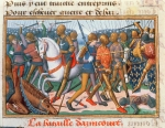 Ms Fr 5054 f.11 The Battle of Agincourt, 1415, from the Vigil of Charles VII, c.1484 (vellum)