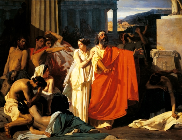 Oedipus and Antigone during plague in Thebes, by Eugene-Ernest Hillemacher (1818-1887)