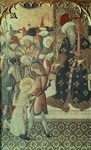 Beheading of St Eulalia, central panel of triptych showing St Michael and martyrdom of St Eulalia and St Catalina, 1442-1445, by Bernat Martorell (ca 1400-1452), tempera and gold on panel, 143.5x188 cm